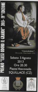 """Squillace (Cz). """"Premio Cassiodoro il Grande"""": la quarta edizione sabato 3 agosto ore 20.30."""