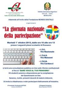 """Il 1° ottobre """"La giornata nazionale della partecipazione"""" all'Itas – Itc di Rossano"""