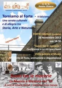 """""""Suoni tra le macerie. La musica a Messina nel '43″. Sabato 28 a Forte Cavalli"""