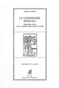 COPERTINA ritagliata LE CONGREGHE SESSUALI libro Arduino