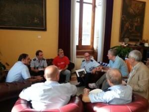 Incontro stamani a Palazzo Zanca tra il Sindaco Accorinti, l'Assessore Cacciola e i vertici del Corpo di Polizia Municipale.