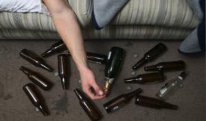 Drunk Man and Beer Bottles