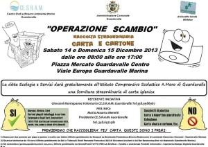 """Guardavalle (Cz). """"Operazione Scambio"""": seconda raccolta straordinaria di carta e cartone."""