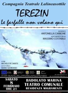 """Teatro del Carro, Badolato (Cz): """"Terezin, le farfalle non volano qui"""". Sabato 8 febbraio ore 21,00."""