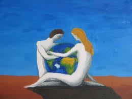 il mondo abbracciato da uomo-donna