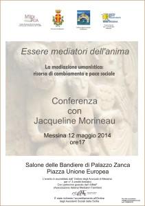 """Messina. Conferenza con Jacqueline Morineau sul tema """"La mediazione umanistica risorsa di cambiamento e pace sociale"""""""