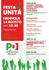 Giovedì 14 agosto Festa dell'Unità a Mammola