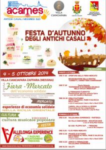 Villaggio Zafferia (Me): Festa d'autunno degli antichi casali. 4 e 5 ottobre a Villa Cianciafara.