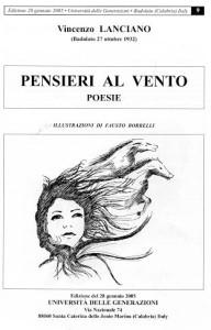 copertina secondo libro poesie Vincenzo Lanciano PENSIERI AL VENTO 2005