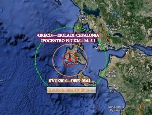 Terremoto di moderata intensità in Grecia poco fa, con epicentro a pochissimi chilometri di distanza dall'Isola di Cefalonia, dati INGV