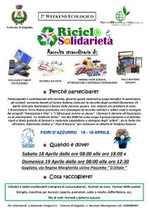 """Gagliato (Cz). """"Riciclo e solidarietà"""" 2° Weekend ecologico a cura dell'Amministrazione Comunale"""