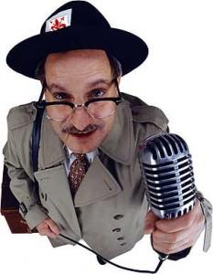 giornalista con microfono