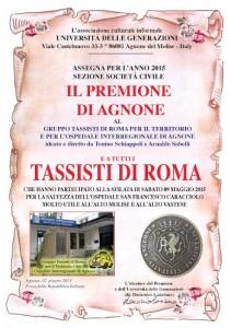 PREMIONE DI AGNONE 2015 AI TASSISTI DI ROMA PRO CARACCIOLO