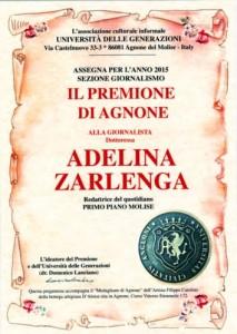 PREMIONE DI AGNONE 2015 PER GIORNALISTA ADELINA ZARLENGA - PRIMO PIANO MOLISE