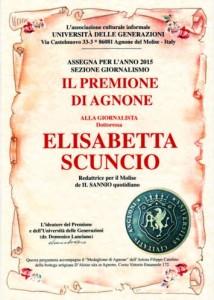 PREMIONE DI AGNONE 2015 PER GIORNALISTA ELISABETTA SCUNCIO - IL SANNIO QUOTIDIANO