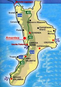 mappa calabria con AMANTEA