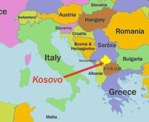 Kossovo - cartina contestuale ad altri stati vicini 2015