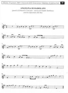 SPARTITO MUSICALE ANGELINA DI BADOLATO