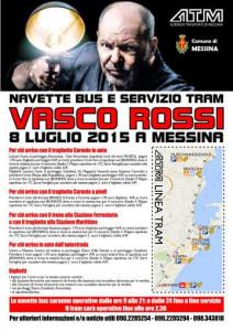 Messina. Concerto Vasco Rossi: navette bus e tram.