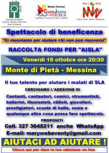 """Messina. Talenti per Aisla: """"Aiutaci ad aiutare"""""""