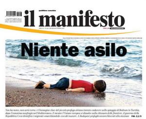 manifesto quotidiano 03.09.2015 foto bambino morto spiaggia bodrum-turchia