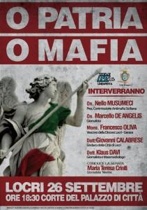 Locri (Rc), sabato 26 settembre importante incontro per discutere su Patria e Mafia all'interno dello Stato.