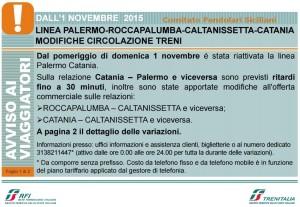 Modifiche Circolazione Catania-Palermo 01 novembre 2015