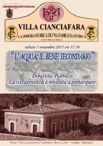 """Messina. """"L'acqua: il bene secondario"""", se ne discuterà a Villa Cianciafara sabato 7 novembre alle ore 17.30."""