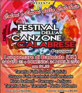 festival canzone calabrese - badolato 23-24 aprile 2016 manifesto