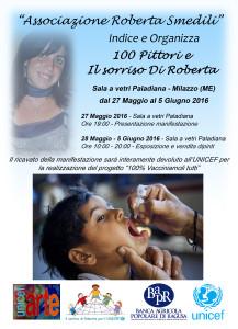 """Milazzo (Me). Il sorriso di Roberta per l'UNICEF – Progetto """"100% Vacciniamoli tutti"""". 100 pittori e il sorriso di Roberta – quando l' Arte incontra la Solidarietà."""
