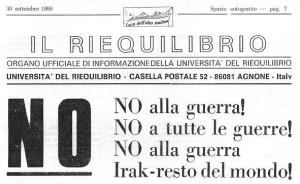 NO ALLA GUERRA - L'ECO Agnone 30 settembre 1990 TITOLI