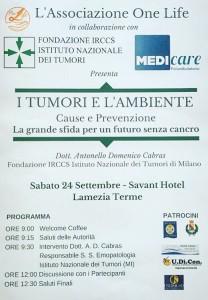 """Lamezia Terme (Cz): convegno promosso dall'Associazione """"One Life"""" sul tema """"I tumori e l'ambiente"""""""