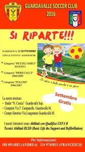 """Nasce il Guardavalle Soccer Club: """"Domani 12 settembre si inizia""""."""