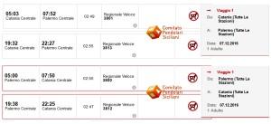 06 dicembre 2016 Treni veloci Catania-Palermo No acquisto