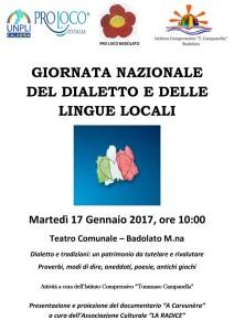 Lettere a Tito n. 166. A Badolato di Calabria la giornata nazionale del dialetto il 17 gennaio 2017.