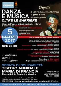 Locandina spettacolo Danza e Musica Oltre le Barriere del 5 Marzo 2017
