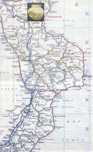 Mappa Calabria con indicazione Trebisacce