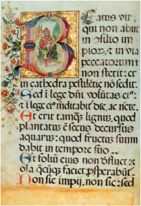 Pagina di Salterio del 17mo secolo