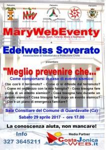 """Oggi sabato 29 a Guardavalle (Cz) : """"Meglio prevenire che…"""", informazione-formazione sul terremoto e norme di comportamento in ambito familiare."""