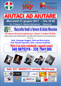 Artisti messinesi sul palco per Aisla (Associazione Italiana Laterale Amiotrofica). Mercoledì 21 giugno ore 18.00.