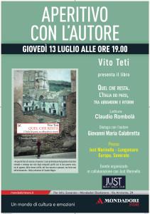 Soverato (Cz). Aperitivo con l'autore: Quel che resta, Vito Teti giovedì 13 luglio ore 19:00