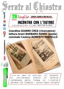 """Reggio Calabria. Sabato 29 luglio """"Incontro con l'autore"""" presentazione del volume """"Macchie in versi"""" di Roberto Pirrello"""