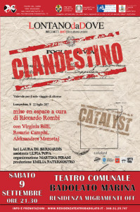 """Badolato (Cz). Progetto di residenza teatrale """"MigraMenti Off"""": sabato 9 settembre ore 21.30  """"Clandestino"""":"""
