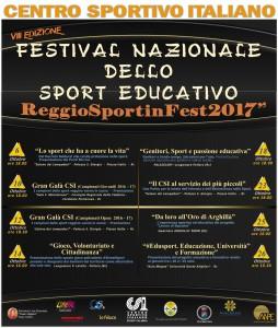 """Reggio Calabria, 6-26 ottobre 2017. """"Festival dello Sport Educativo"""", al via la kermesse sociale del Centro Sportivo Italiano; Cicciù: «Palestra di idee ed azioni»"""