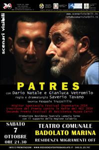 "Badolato. Teatro Comunale: Sabato 7 ottobre, ore 21.30 ""Patres""."