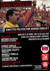 """Fronte della Gioventù Comunista Cosenza: """"Venezuaela: un popolo in lotta contro l'imperialismo"""""""