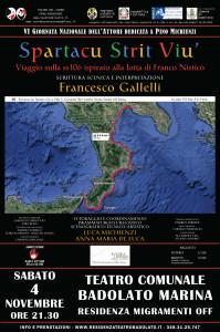 """Teatro Comunale di Badolato (Cz)  Residenza Teatrale MigraMenti Off: """"Spartacu Strit Viù"""", sabato 4 novembre ore 21.30"""