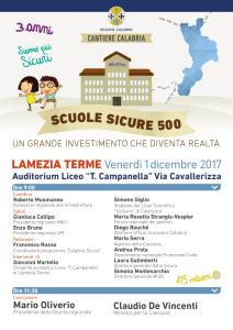 """Il Ministro De Vincenti sarà presente al focus """"Scuole Sicure 500"""" di Lamezia Terme (Cz)."""