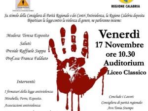 Calabria. Giorno 17 a Vibo per parlare di violenza contro le donne