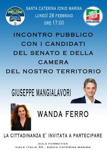 S. Caterina dello Jonio (Cz). I candidati di Fratelli D'Italia e Forza Italia incontreranno i cittadini.